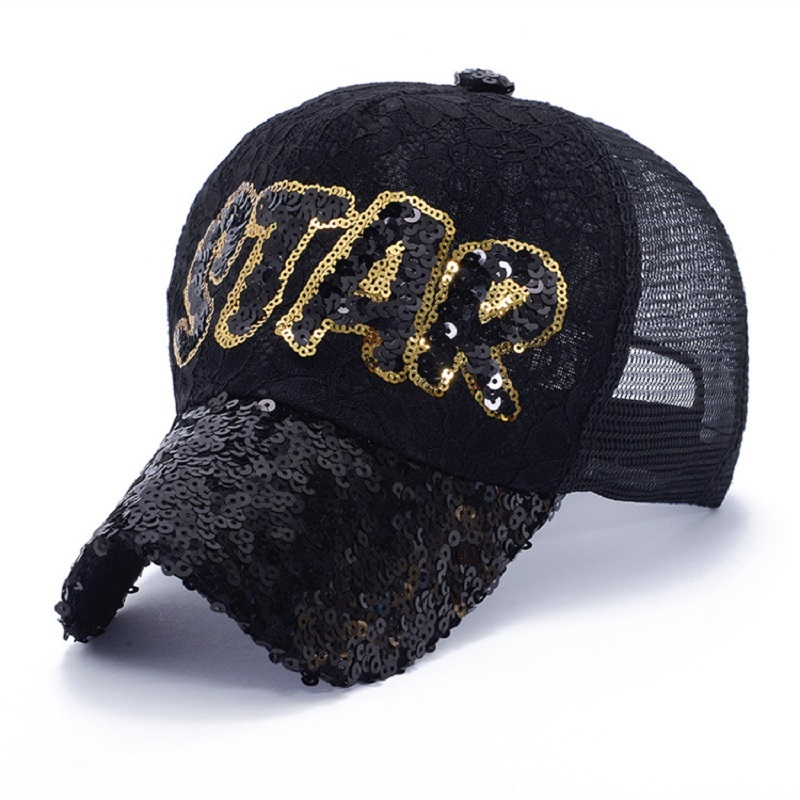 silver sequin baseball cap pink sparkle fashion letters star women caps brand hats mesh hip hop summer gold