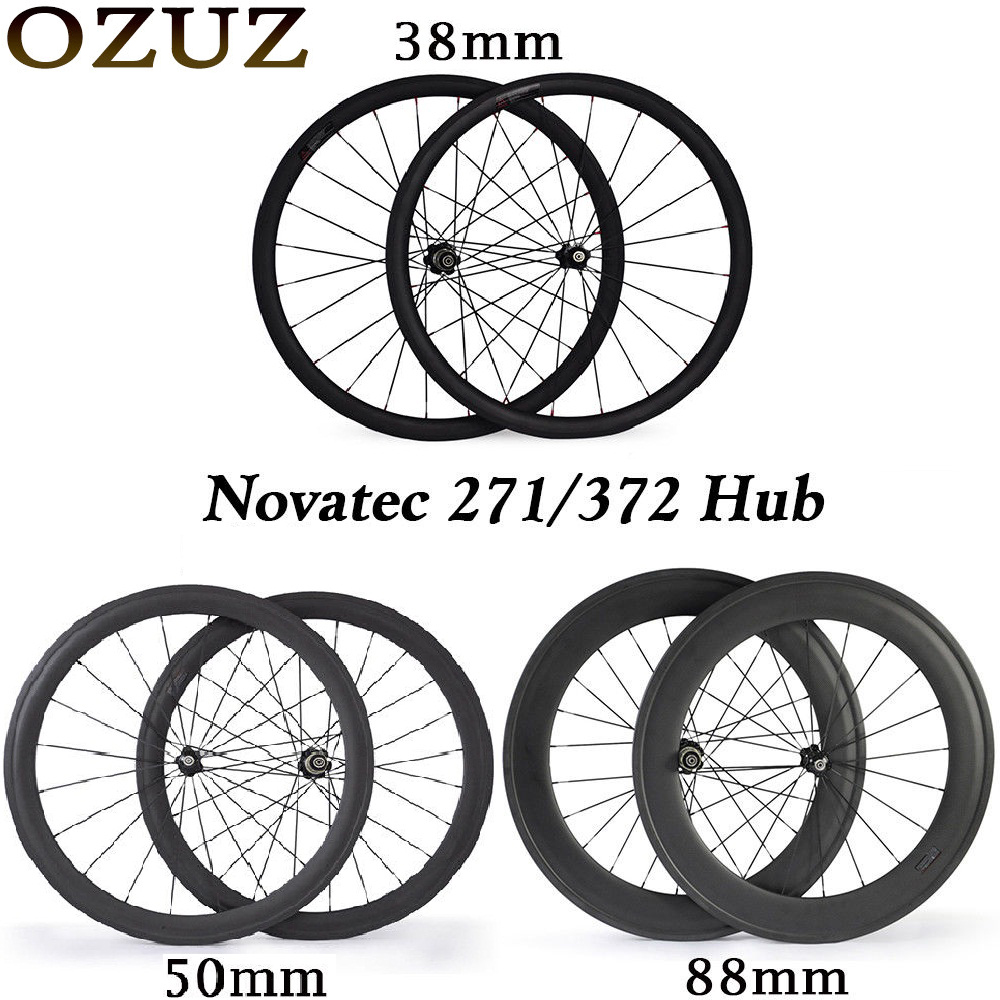 Novatec hub carbon wheels 700c 24 38 50 88 mm road bike wheelset clincher tubular 3k matte bicycle wheels 23mm standard wheelset