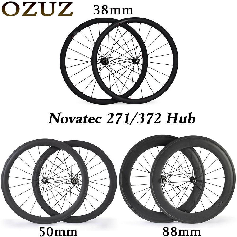 Novatec hub carbon wheels 700c 38 50 88 mm road bike wheelset clincher tubular 3k glossy