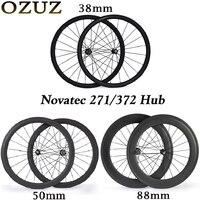Втулка Novatec углерода Колесная 38 50 88 мм дорожный велосипед 700c колесный диск tubular 3 к Глянцевая колеса велосипеда