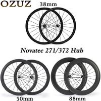 Novatec hub carbon wheelset 38 50 88 mm road bike 700c wheelset clincher tubular 3k glossy bicycle wheels