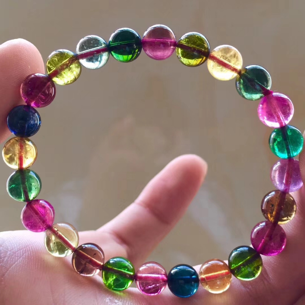 Tourmaline round multicolor 7-8mm bracelet 7.5inch FPPJ wholesale beads nature AAA high quality Tourmaline round multicolor 7-8mm bracelet 7.5inch FPPJ wholesale beads nature AAA high quality