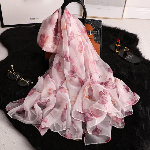 women spring summer new design soft leaf printed thin wraps big size women large long ladies scarves silk