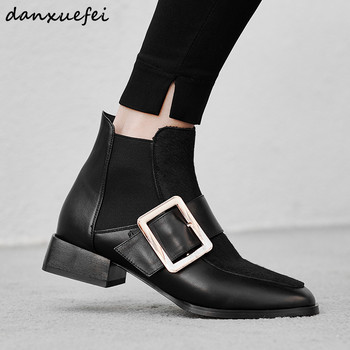Women's Genuine Leather Metal Buckle Slip-on Autumn Ankle Boots Brand Designer Horsehair Punk Short Booties Winter Shoes Women