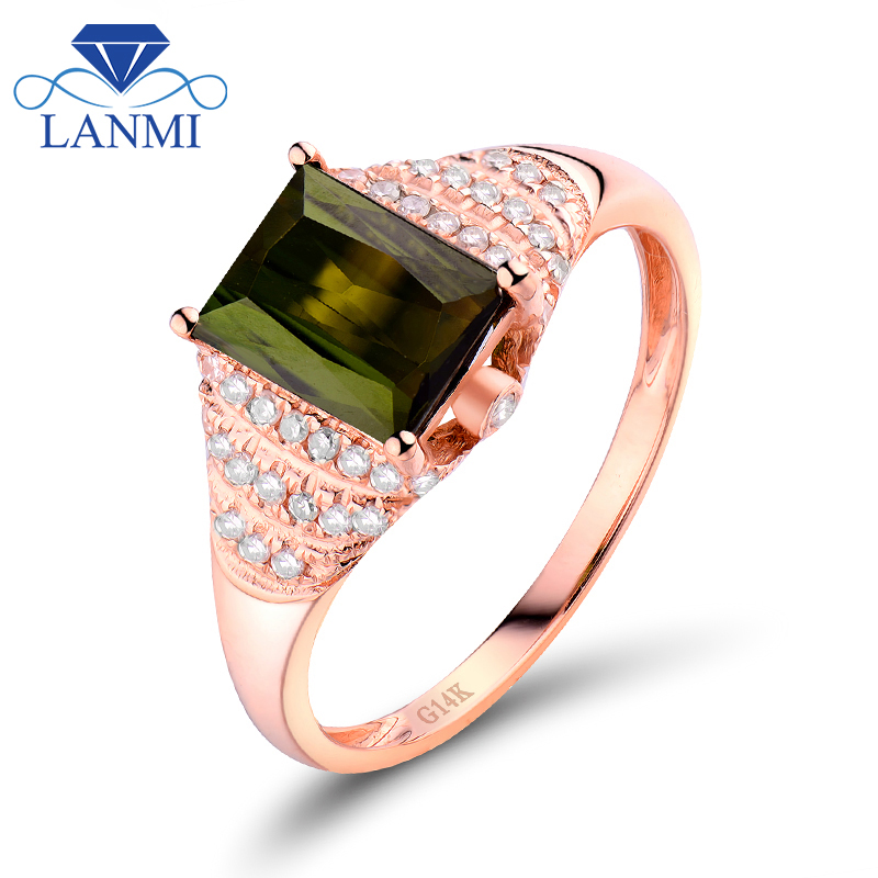 Popular green tourmaline diamond ring buy cheap green for Wholesale 14k gold jewelry distributors