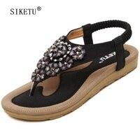 SIKETU Women Sandals Bohemia Flower Summer Women Shoes Slip On Flats Female Sandals Casual Ladies Shoes
