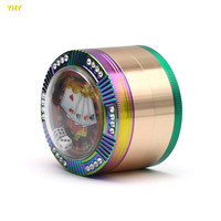 Rainbow Colorful 63mm 4 layers Grinders Diamond Zinc alloy 3D Mahjong Table Shape Tobacco Hand Grinder Cigarette Crusher