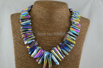 Rainbow Titanium Polished Crystal Stick Beads Graduated Necklace Silver Claps Fashion Woman Jewelry