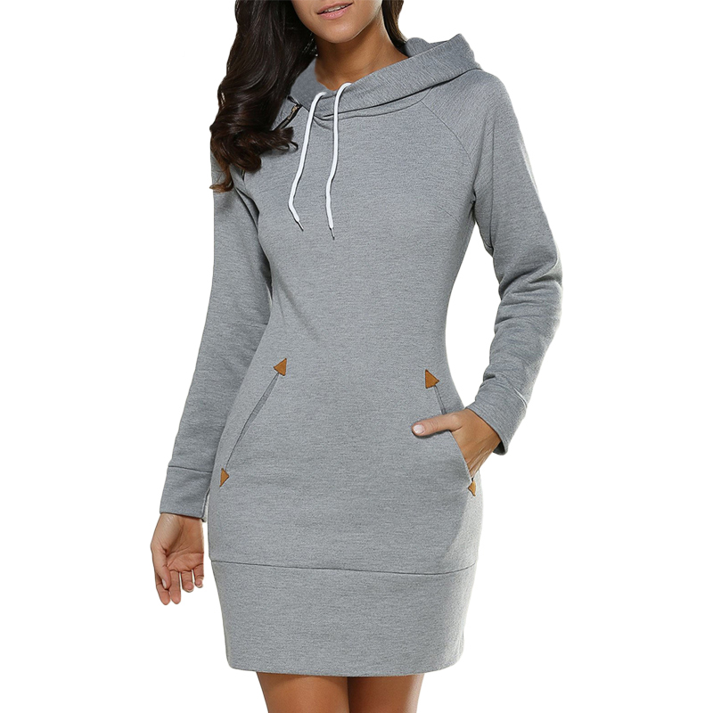 2018 Winter Warm Women Casual Straight Solid Dress Ladies Long Sleeve Hooded Pockets Mini Party Dresses SportsWear Clothing New