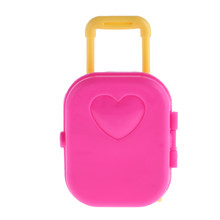 Cute Pink Dollhouse Plastic Rolling Suitcase Luggage Box for Barbie Doll Travel Dolls Outgoing Accessories Decor Girl Gift(China)