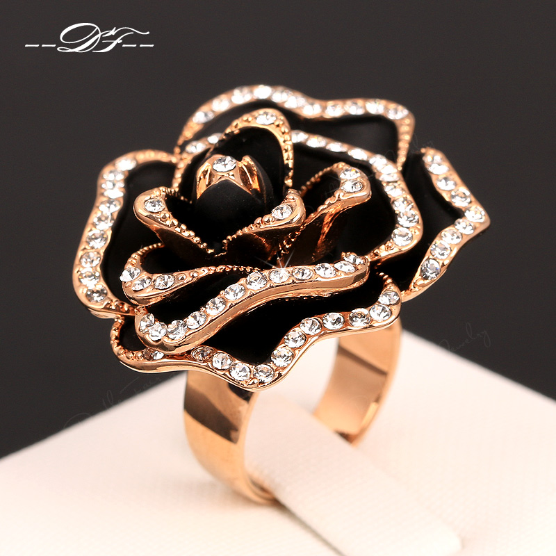 Hot Sale Exaggerated Rose Vintage Rings Rose Gold Color o Cubic Zirconia Rock The Finger Ring Wedding Jewelry For Women DFR329 new pure au750 rose gold love ring lucky cute letter ring 1 13 1 23g hot sale