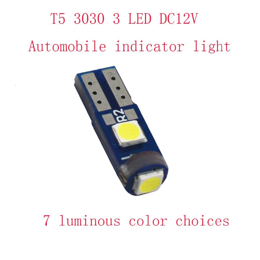 10pcs T5 LED Car Auto LED 3 led smd 3030 Wedge LED Light Bulb Lamp dash board Instrument White Pink Ice Blue Red Green DC12V