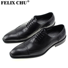 FELIX CHU 2016 Brand Italian Design Genuine Leather Black Lace Up Brogue Man Dress Shoes Mens Formal Suit Party Wedding #1815-83
