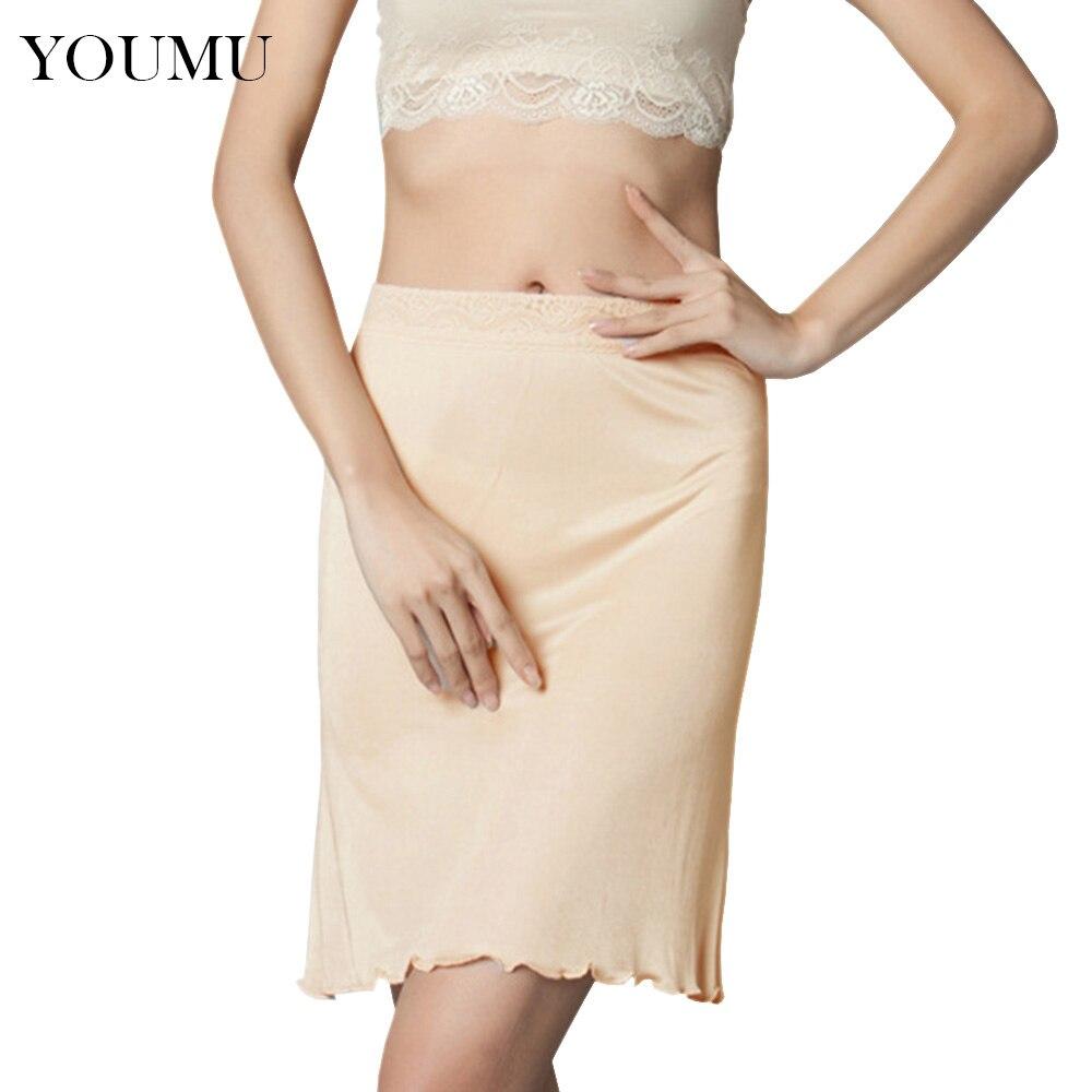 Frauen Slip Nachgeahmte Seide Petticoat Hälfte Rutscht Unterrock Midi Fit Sexy Dessous Unterkleid 4 Farben M-XL Neue Mode 207-086
