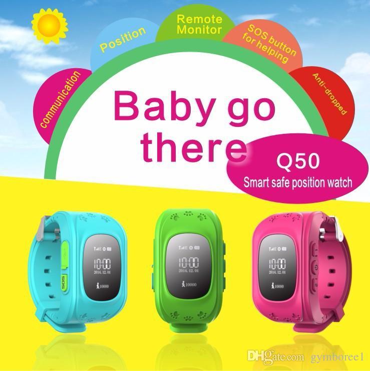 1 PCS GPS Relógio Rastreador Para Crianças SOS Emergência Anti Perdido Pulseira Pulseira Wearable Dispositivos OLED Localizador Localizador Rastreador GSM Q50