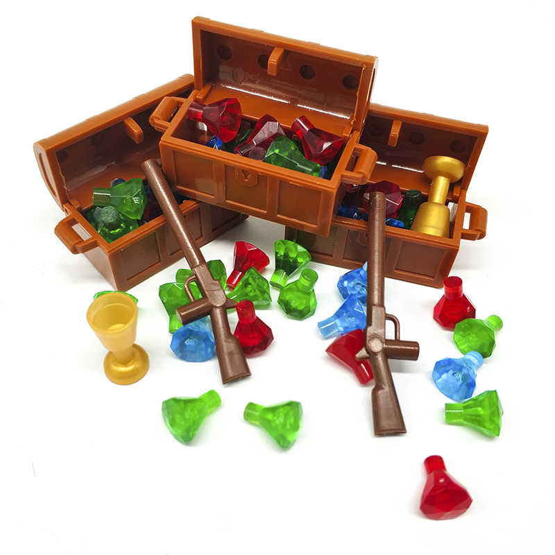 Pirates of the Caribbean Treasure Block Diamonds Girl jewelry Parts Buildling Block Weapons Accessories Treasure Chest Box Block