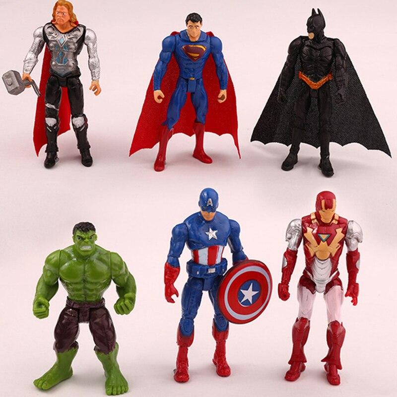 6 pçs/set 10 cm boneca de brinquedo do bebê super herói the avengers ação figuras brinquedos pvc modelo brinquedos spider man homem de ferro thor presentes para meninos