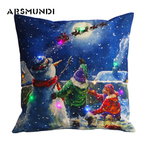 Merry Christmas Snowman LED Flax Pillowcase Printed Wreath Deer Woven Pillowcase Simple Home use Decorative Pillow Case simple rhombus pattern square shape flax pillowcase without pillow inner