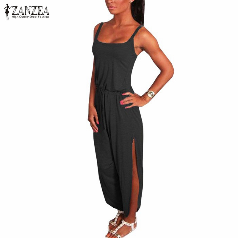 ZANZEA 2019 Playsuit Summer Rompers Women   Jumpsuit   Sexy Spaghetti Strap Sleeveless Split Waist Bandage Solid Overalls Plus Size