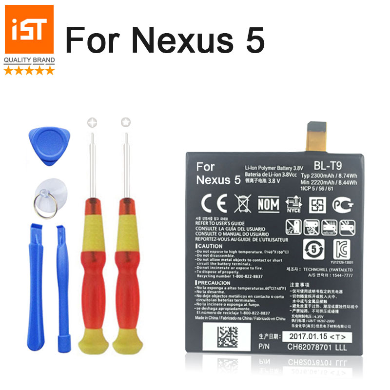 100% IST Original Mobile Phone Battery For LG Nexus 5 BL-T9 E980 G D820 D821 BLT9 Replacement Battery With Tools