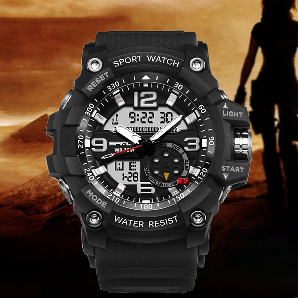 Digital Analog Dual Time Sport Watch Zones Calendar Chronograph Military Resin Wrist Watch Men 37