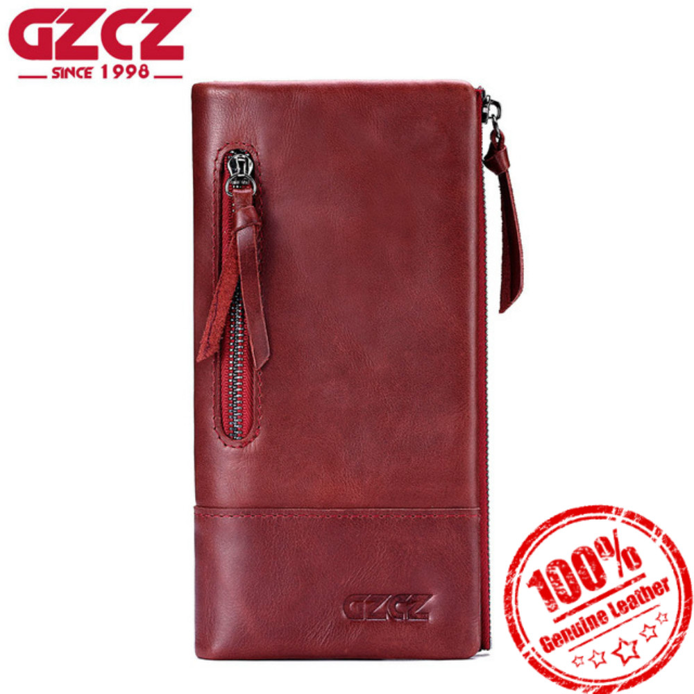 GZCZ Luxury Brand Long Genuine Leather Women Wallet Woman Zipper Coin Large Capacity Purse Fashion Card Holder Money Bag contact s genuine leather women wallet large capacity long purse card holder fashion brand real cowhide clutch money bag wallet