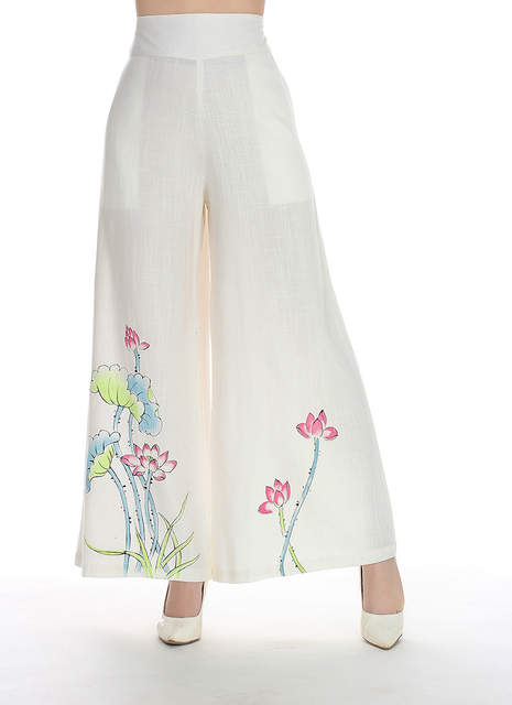 6cf030ce809 placeholder White Print Chinese Women Cotton Linen Pant Flower Wide Leg  Pants Full Length Elastic Waist Loose