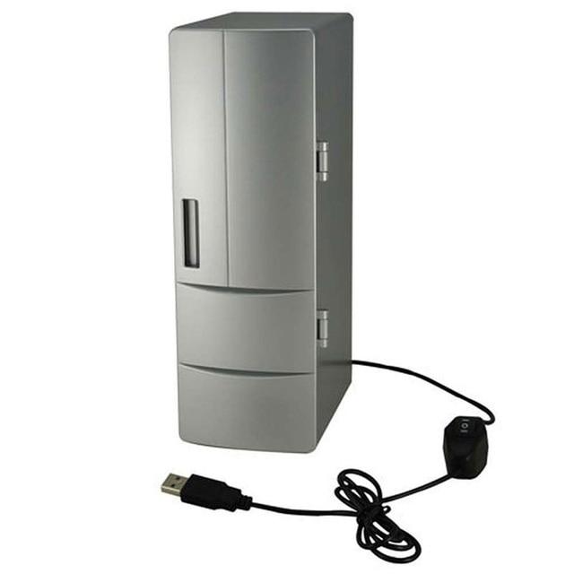 Plug Play Portable Practical Mini Usb Fridge Office Desktop Pc Car Refrigerator Freezer Beverage Can Drink Cooler Silver