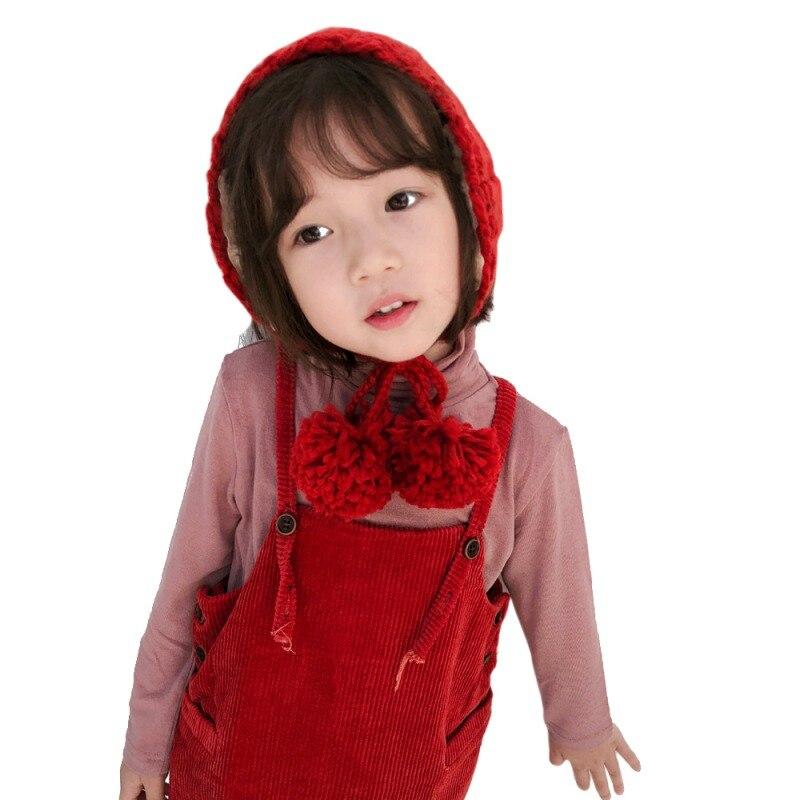 Детские вязаные вязаный крючком Детская шапка ушанка для маленьких девочек и мальчиков вязать детские Шапки зима теплая Кепки