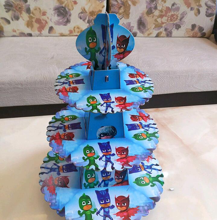 1pc Set Pj Masks Theme Three Layer Paper Cupcake Stand For