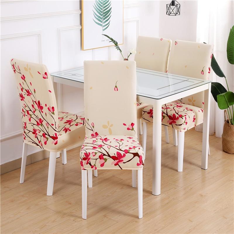 Housse de chaise de salle à manger Spandex élastique pastorale imprimé moderne housses de meubles couverture cuisine mariage housse de chaise 1/2/4/6 pièces