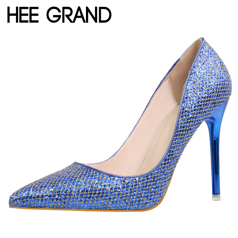 HEE GRAND Bling Glitter Pumps Platform Sexy Thin High Heels Slip On Women Shoes Pointed Toe Casual Wedding Shoes Woman WXG340 newest flock blade heels shoes 2018 pointed toe slip on women platform pumps sexy metal heels wedding party dress shoes