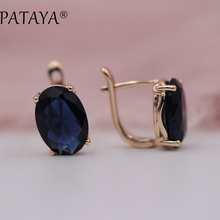 PATAYA Romantic Vintage Black Earrings 585 Rose Gold Round Design Blue Cubic Zirconia Indian Jewelry Women Chandelier Earrings