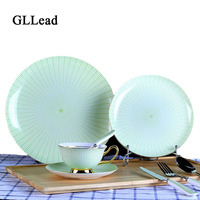 GLLead Creative New Style Green Stripe Bone China Tableware Hand painted gold ceramic Dinner Service Plate And Cup Saucer Sets