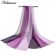 painted gradient colors georgette scarf Women Autumn and Winter long shawl silk feeling Scarves soft echarpe solid wraps 2017