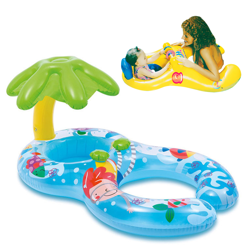 Inflatable Circle Swimming Ring Baby Float Mother Child Double Swimming Circle Pool Accessories Sunshade Toy Swimtrainer Circles