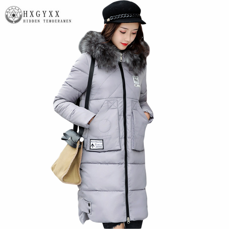 Winter Jackets Women 2017 New Arrival Warm Winter Cotton-padded Long Jacket Large Fur Collar Hooded Slim Coat Thick Parka Okb31 women thick winter large size long section padded hooded outerwear new fashion fur collar slim padded cotton warm coat jacket