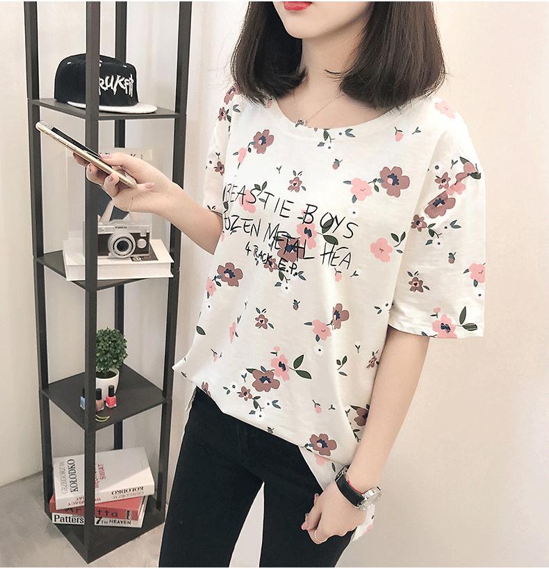 Casual Loose Women Summer T-shirt Womens O-neck Printing Cute T-shirts Female Sweet Girls Tops Females Korean Style New Trendy 12