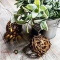 10 Шт. Натуральный Коричневый Ротанга Бал Фея Света для Рождество Свадьбы сада Патио и Партии Батареи Работают Свет Строка