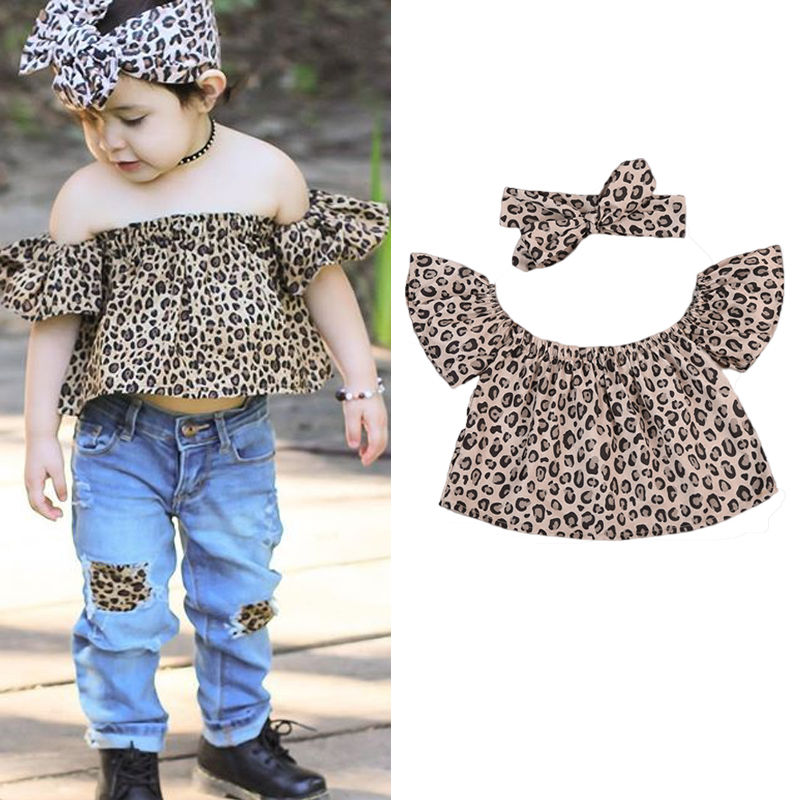 1e30a161ee1d2 Little Girls Summer Leopard Off shoulder Flare Sleeve Clothing Set Toddler Girl  Off shoulder Top+Headband 2PCS Outfit Clothes-in Clothing Sets from Mother  ...