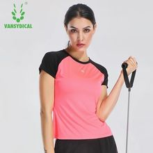 Vansydical Women Sports T-Shirts Short Sleeve Yoga Shirts Elastic Quick Dry Fitness Gym Tops Running Shirt Outdoor Sportswear