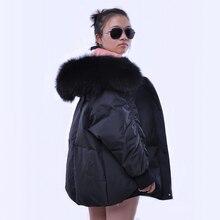 2018 Новый Модный Зимний пуховик женский 90% белый утиный пух большой натуральный мех енота с капюшоном парка белый пуховик для женщин