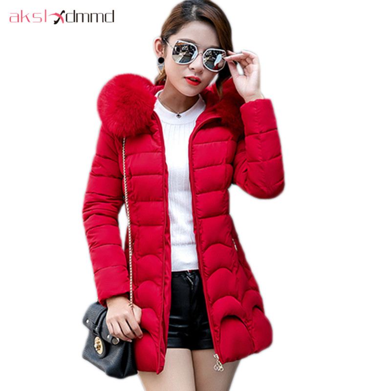 AKSLXDMMD Winter Jacket Women 2017 New Fashion Slim Cotton-padded Fur Hooded Jacket Parka Female Outerwear Winter Coat LH1142 lstu winter jacket women 2017 fashion cotton padded hooded jacket female wadded jacket outerwear winter coat women