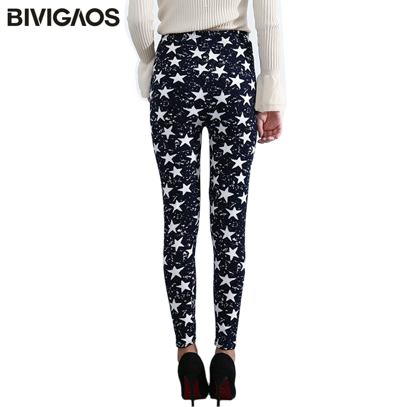 BIVIGAOS Spring Summer Womens Fashion Black Milk Thin Stretch   leggings   Colored Stars Graffiti Slim Skinny   Leggings   Pants Female