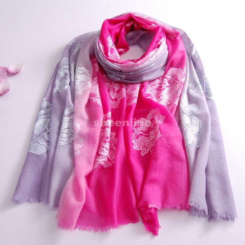 7 Designs Top Quality Ethnic Wool Silk Shawl Color Patch Embroidery Pashmina Quality Long Scarf Light