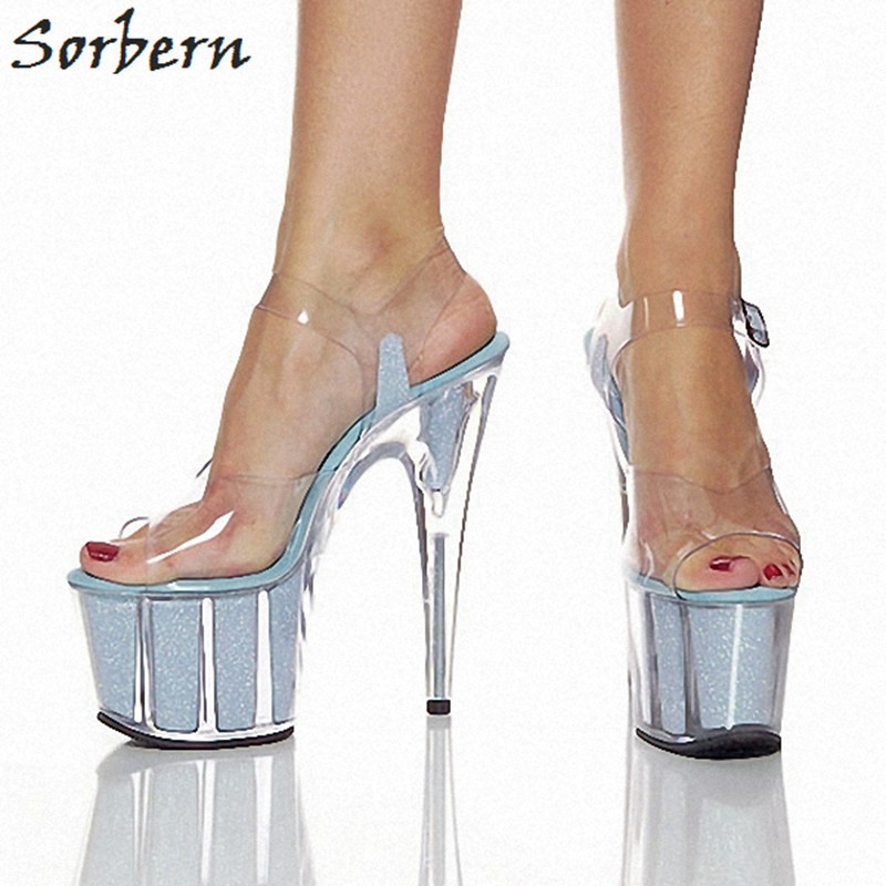 Sorbern Transparent Pvc Women Sandals 15Cm Ultra High Heels Open Toe Ankle Strap Summer Shoes 2018 Platform Shoes Clear Heels sorbern women sandals shoes real image pvc clear heels buckle strap 15cm heels crystal sandalias mujer 2018 summer shoes women