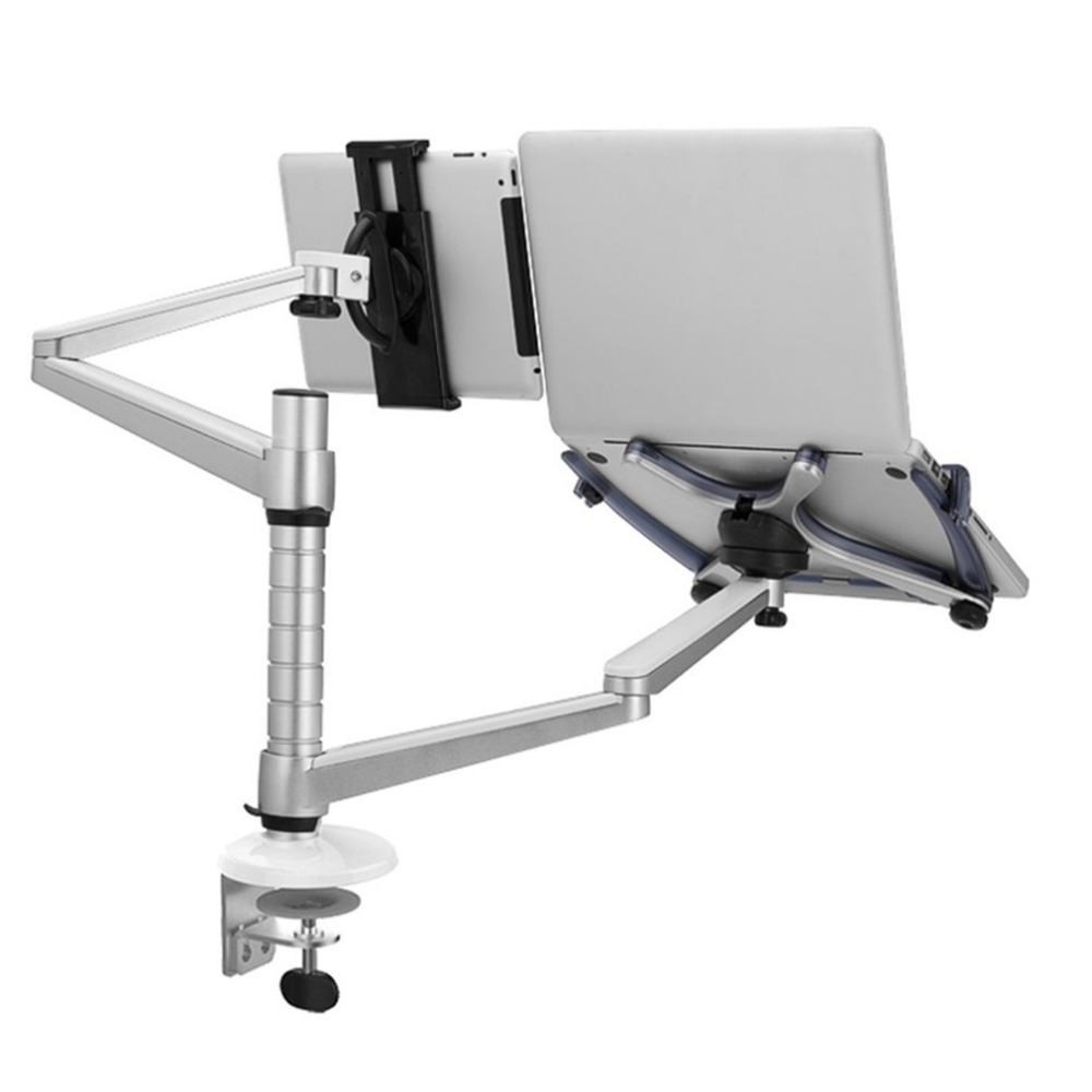 LESHP OA-9X 2 In 1 Combination Bracket Stand Adjustable Dual Arm Laptop Alloy Holder For 15 inch Laptop and 10 inch Tablet oa 7x lazy tablet laptop stand adjustable height rotatable holder for notebook within 10 15 inch and tablet pc 7 10 inch