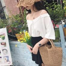 V-neck Strap Top Cute Fashion Tshirt 2018 Women's T-shirts Japan Harajuku Ladies Ulzzang Female Korean Kawaii Tops For Women