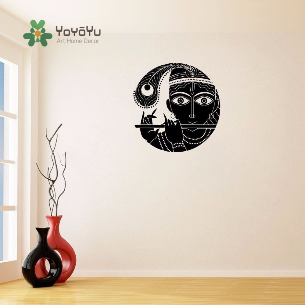 Yoyoyu 40 colors wall decal art wall sticker krishna salon fluting woman removeable decoration in room zx037