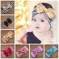 Os novos acessórios para o cabelo das crianças listrado de algodão headband com Lindo lantejoulas laço de fita bebê hairhead